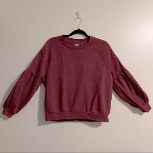 Aerie red Sweater with cute balloon puff sleeves